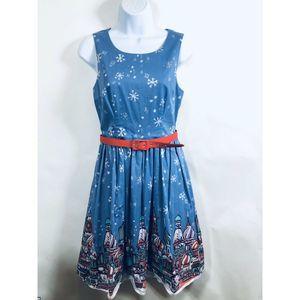 ModCloth Dress Medium Russian Dolls Winter Blue